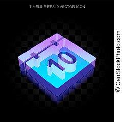 10, 作られた, ガラス, タイムライン, ネオン, eps, icon:, 白熱, vector., カレンダー, 3d