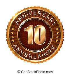 10, 年, 週年紀念, 黃金, 布朗, label.