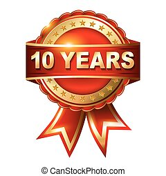 10, 年, 週年紀念, 黃金, 標簽