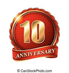 10, 年, 週年紀念, 黃金, 標簽, 由于, ribbon.