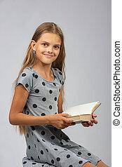 10, 幸福に, フレーム, 注意をそらされた, 年, 見た, 本, 女の子の読書