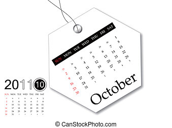 10 月, の, 2011, カレンダー