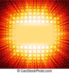 10, 火炎信号, eps, burst., 正方形, 技術, 赤