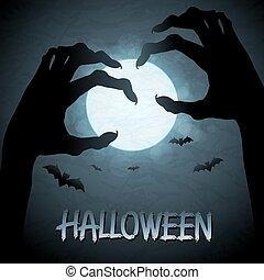 10, 背景, ハロウィーン, eps, 月, zombies