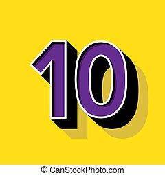 10, 背景, 数, 黄色, ロゴ