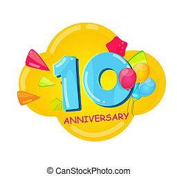10, 記念日, 漫画, テンプレート, 年, かわいい, イラスト