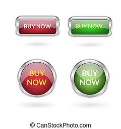 10, 買い物, ボタン, eps, ベクトル, 緑, デザイン, 白, 今, 赤