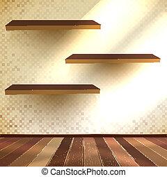 10, 部屋, 木製である, eps, floor., shelfs