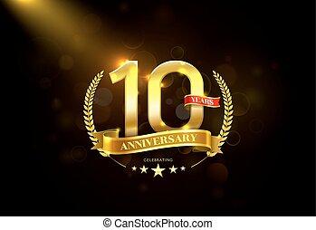 10, 金, 花輪, 記念日, 年, 月桂樹, リボン