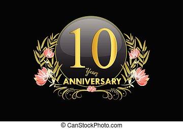10, 金, 花輪, 記念日, 年, 水彩画