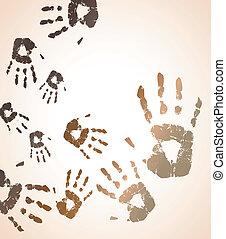 10, 색, handprint, eps, 벡터, 배경