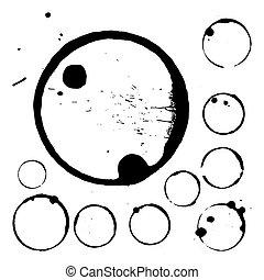 10, 커피, blots, 컵, 은 인쇄한다, eps, 튀김