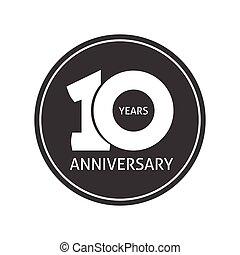 10, 10ème, autocollant, anniversaire, années, anniversaire, vecteur, année, logo, étiquette