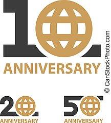 10 20 50 years anniversary globe number vector