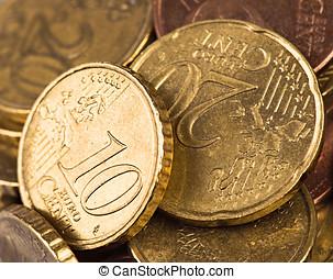 10, 20, leva, centavos, macro, moedas, dois euro