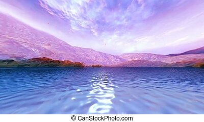 10 3D animated landscape of sea ,mountains and falling flowers in the wind