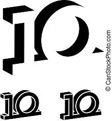 10, 3d, noir, nombre, années