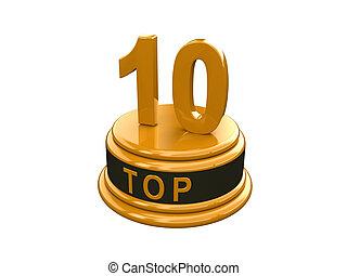10., (3d, or, sommet, cent, isolé, render), réaliste