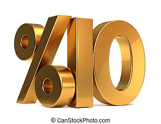 %10 3d rendering golden symbol