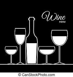 10, abstratos, eps, vetorial, desenho, pretas, cartão, vinho
