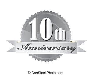 10, aniversario, ilustración, sello