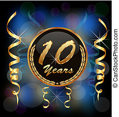 10, années, anniversaire, fête