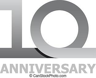 10, années, nombre, anniversaire