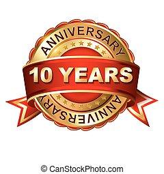 10, anni, anniversario, dorato, etichetta, con, ribbon.