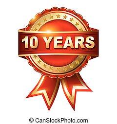 10, anni, anniversario, dorato, etichetta