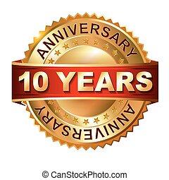 10, anni, anniversario, dorato, etichetta, w