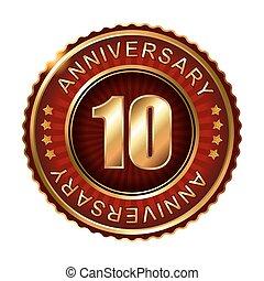 10, anni, anniversario, dorato, label.