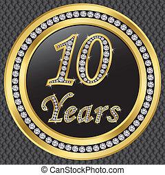 10, anni, anniversario, felice, birthda