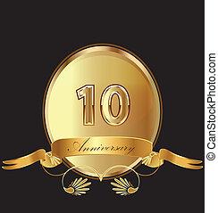 10, anniversario, compleanno, sigillo