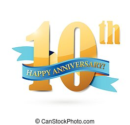 10, anniversario, nastro, segno, illustrazione