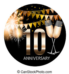 10 Anniversary emblem template design background. Illustration
