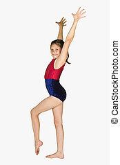 10, ano velho, menina, em, ginástica, poses