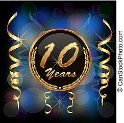 10, anos, aniversário, partido