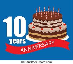 10, anos, cartão aniversário, celebração