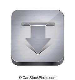 10, app, metall, freigestellt, eps, vektor, white., ikone