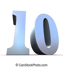 10, -, argento, numero