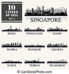 10 Asian cities, set of vector illustration