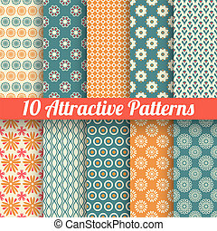 10 Attractive vector seamless patterns (tiling). Blue, orange colors. Texture for printing onto fabric, paper, scrap booking. Abstract flower, shape. Classy feminine background. Retro and vintage.