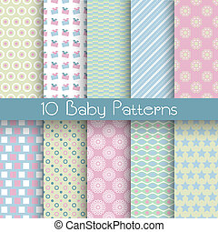 Baby pastel different vector seamless patterns (tiling) - 10...