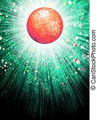 10, balle, detail., lumière, eps, disco, mosaïque, rouges