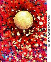 10, balle, illustration., coloré, eps, disco, 3d