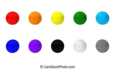 10, balles, render, 3d