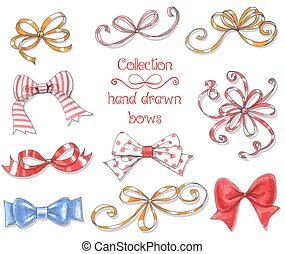 Collection of 10 hand drawn bows. Elements for design on white background.
