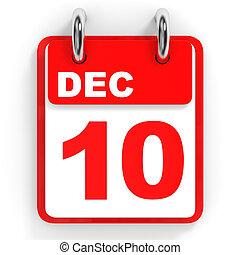 10, calendario, december., blanco, fondo.