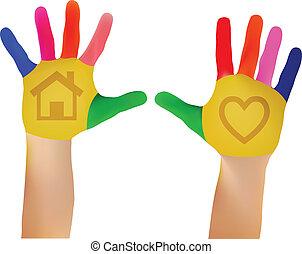 10, caractères, vecteur, coloré, peint, peintures, enfant, -, eps, main, maille, mains, prêt