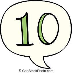 10, cartone animato, discorso, numero, bolla